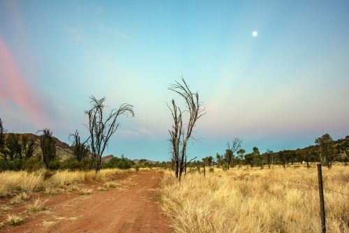 Pink vibrant colors of the sky during dawn in the Australian outback along an outback track