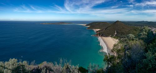 Views over islands and beaches around Port Stephens on the NSW Mid North Coast