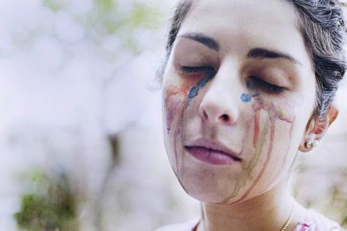 portrait of a girl crying colours
