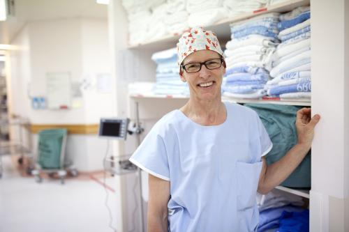 Portrait of a theatre nurse in a hospital operating theatre