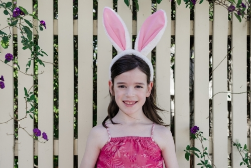 Portrait of a young girl wearing bunny rabbit ears