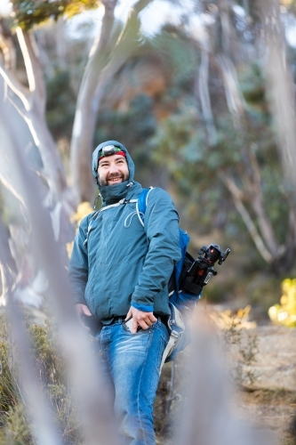 Portrait of man in cold climate clothing smiling enjoying the Blue Mountains wilderness