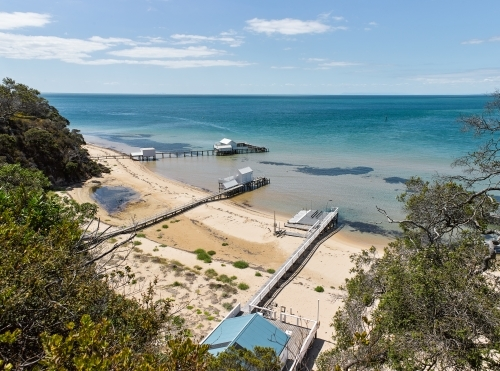 private jetties & boat sheds from cliffside walk