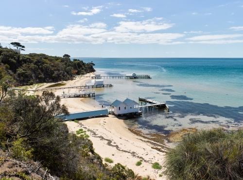 private jetties & boat sheds from cliffside walkway