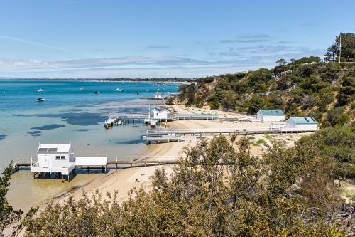 private jetties & boatsheds from coastal walkway