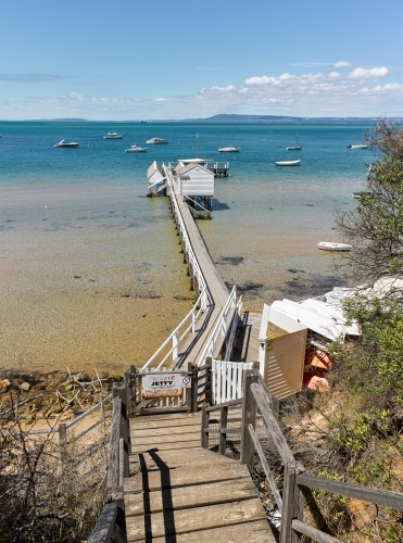 Private jetty & boat shed from cliffside walkway