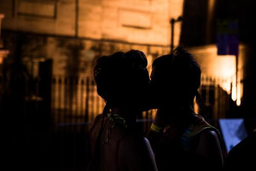 Queer kisses silhouette