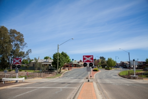 Rail Way Crossing sign and lights in Coolamon
