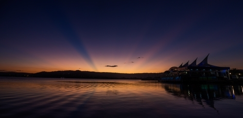 Rays of last light during a sunset at Gosford waterfront