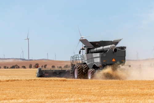rear view of crop being harvested