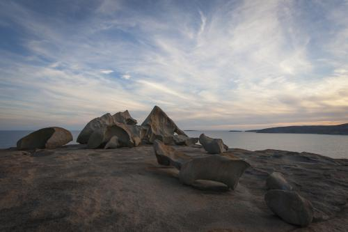 View of sea and sky over Remarkable rocks at twilight