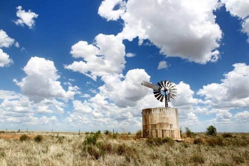 Remote water tank under big sky