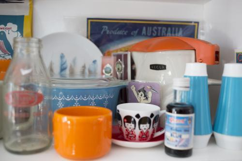Retro collection on shelf in kitchen
