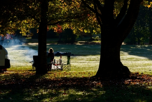 Rim lit silhouette of person sitting at picnic table with smoke under trees with autumn colours