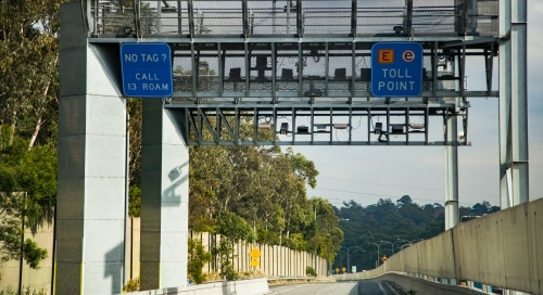 E-Toll tag point on motorway exit