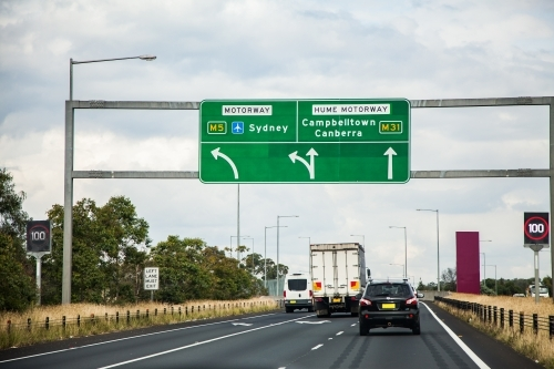Large sign over highway to campbelltown sydney