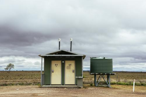 Roadside toilet stop in remote location