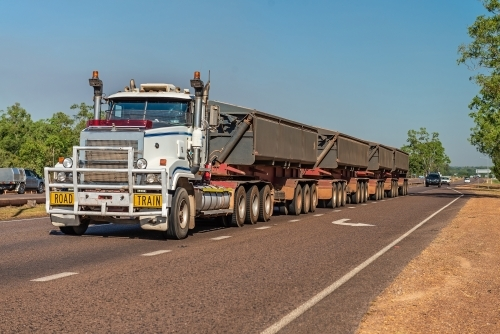 Roadtrain along Stuart Hwy