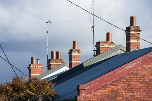 Row of chimneys on terrace houses