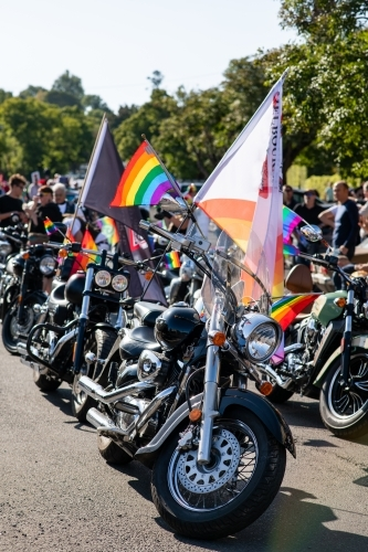 Row of motorcycles ready for Pride Parade