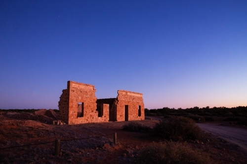 ruin in predawn light