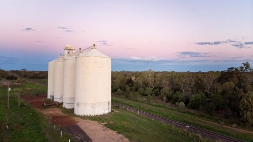 Rural Aerial View Queensland Silos.
