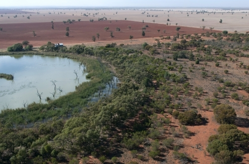 Rural Outback Aerial Landscape With Dam