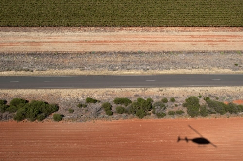 Rural Outback Aerial Landscape With Helicopter Shadow