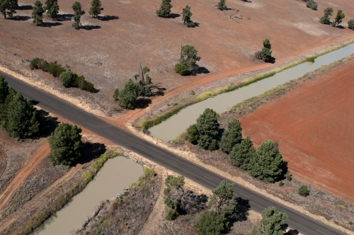 Rural Outback Aerial Landscape With Irrigation
