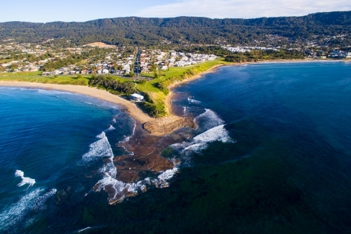 Aerial view of the famous surfing headland Sandon Point, Bulli, NSW