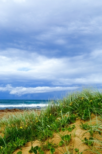 A stormy sky over the dunes and ocean at Sandon Point