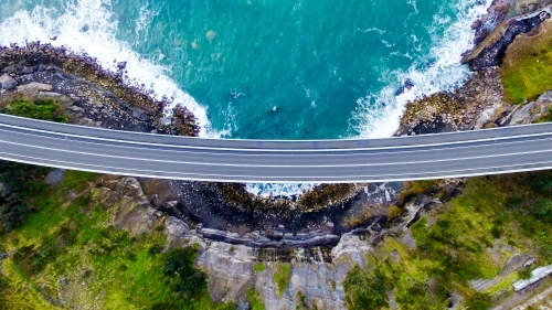 Aerial view of the Sea Cliff Bridge between Coalcliff and Clifton