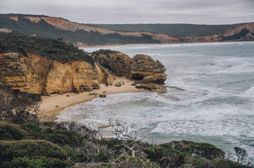 Seascape of cliffs, beach and sea along the Great Ocean Road