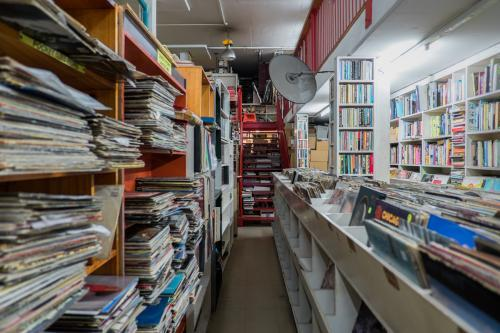 Secondhand store selling books and vinyl records