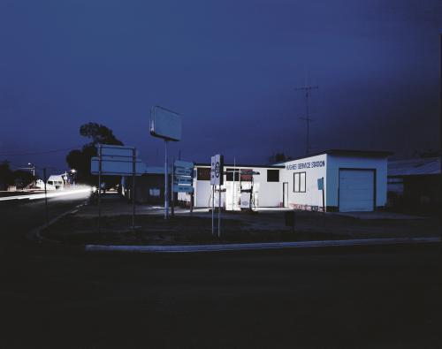 Service Station in Remote Outback Town at Night