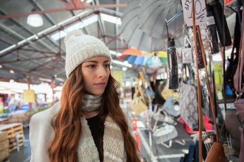 Shopping at the Market in Winter