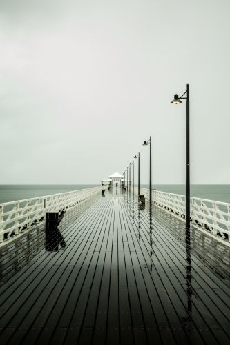 Shorncliffe Pier on a wet winter day.