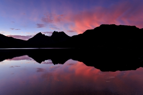 Silhouette of Cradle Mountain reflected in Dove Lake
