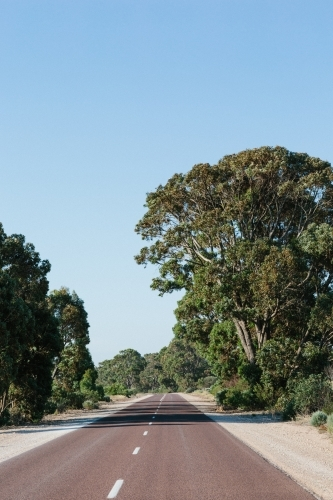 Single straight road in rural area