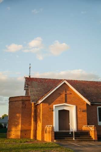 Church building in golden afternoon light