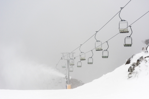 ski lifts on a winters morning