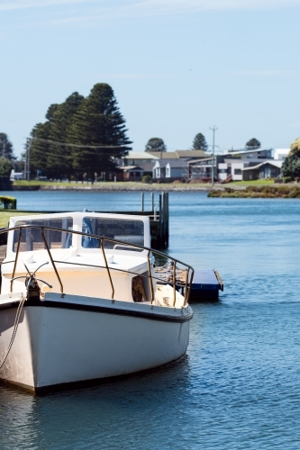 Small leisure boat moored in Port Fairy marina
