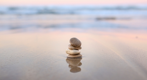 Stacked Pebbles in the sea
