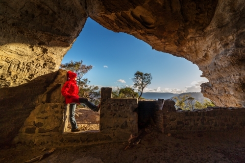 Standing in a cave in the upper Blue Mountains Australia