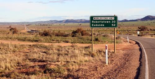 Start of Worlds End Highway in the outback