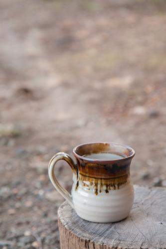 Steaming mug sitting on a stump on a cold morning
