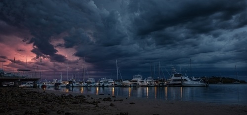 Storm clouds over Soldiers Point Marina, Port Stephens