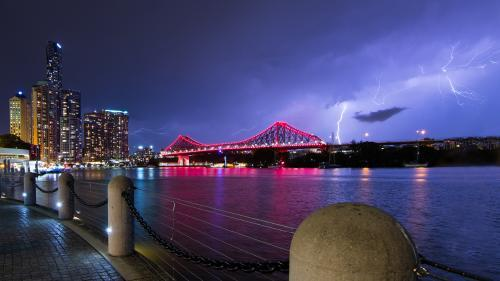 Storm Over the Brisbane River and Story Bridge