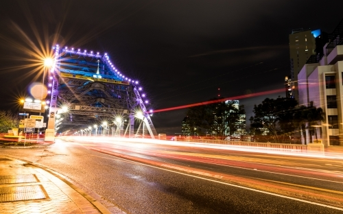 Story Bridge with light trails