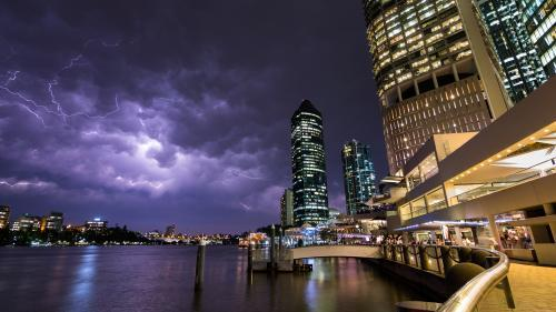 Summer Storm Over the Brisbane River from Eagle Street Pier